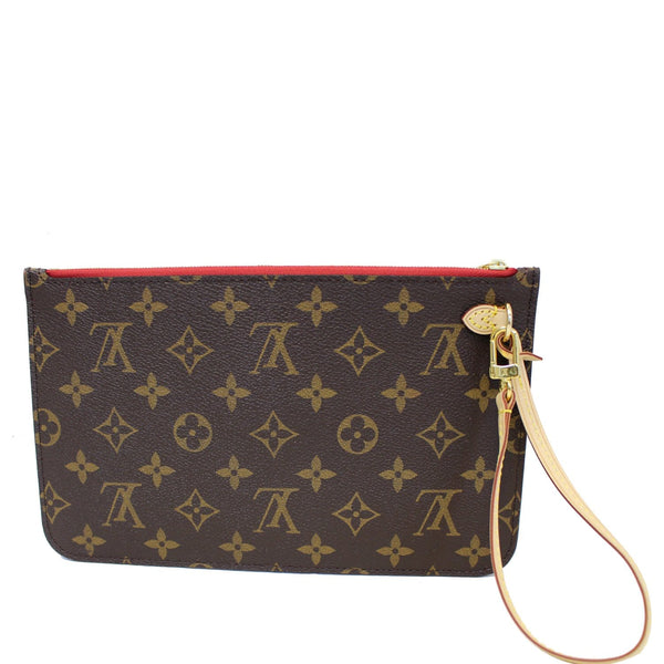 LOUIS VUITTON Pochette Wristlet Pouch Monogram Canvas Neverfull MM Brown/Red-US