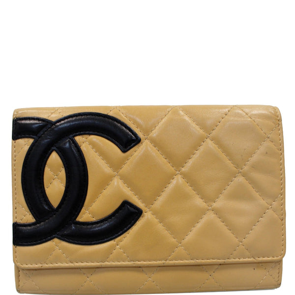 Chanel Cambon Flap Calfskin Quilted Wallet Beige For Women