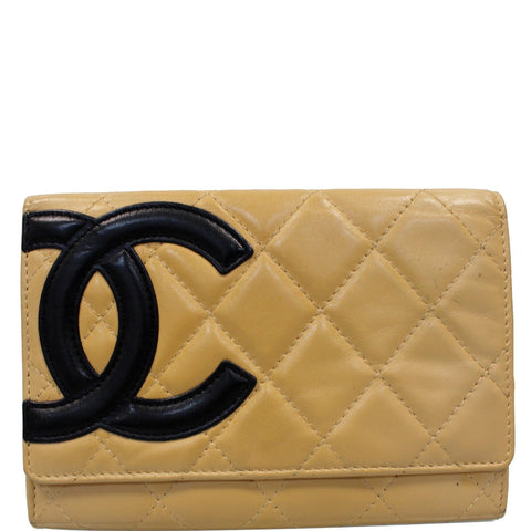 CHANEL Cambon Flap Calfskin Quilted Wallet Beige