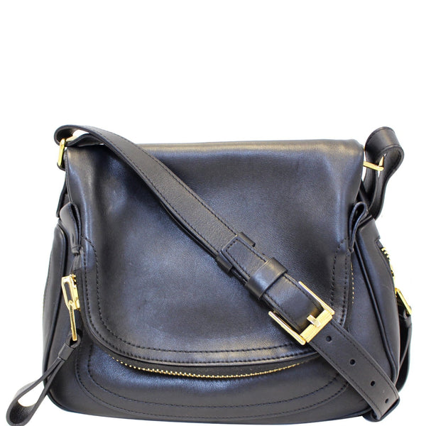 TOM FORD Jennifer Zip Medium Leather Shoulder Bag Black