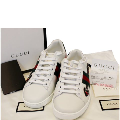 GUCCI Ace Embroidered Arrow Logo Sneakers Size US 7.5