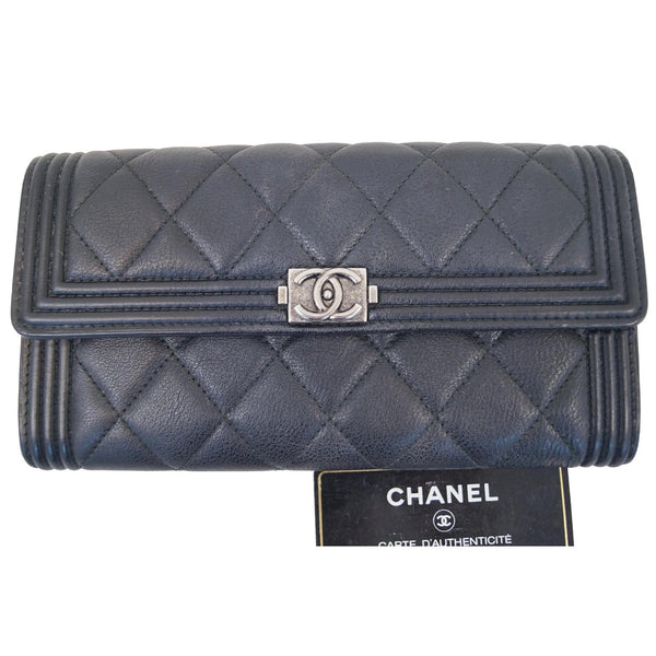 Chanel Boy Large Flap Lambskin Leather Wallet Black front view