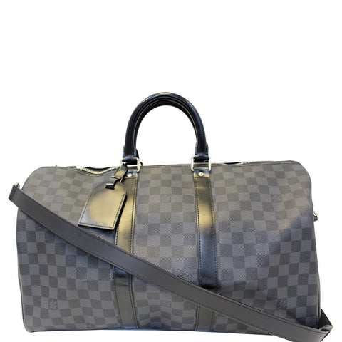 LOUIS VUITTON Keepall 45 Damier Graphite Bandouliere Travel Bag