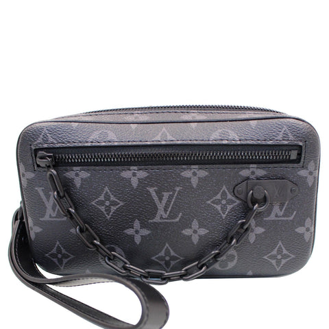 LOUIS VUITTON Pochette Volga Monogram Eclipse Clutch Bag Black