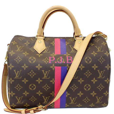 LOUIS VUITTON Speedy 30 Mon Bandouliere Monogram Canvas Shoulder Bag Brown