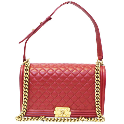 CHANEL Medium Boy Flap Lambskin Leather Shoulder Bag Red