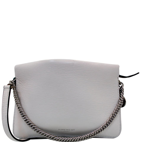 GIVENCHY Cross3 Two Tone Textured Leather Crossbody Bag White