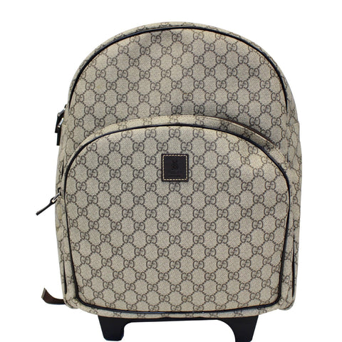 Gucci GG Supreme Canvas Trolley Backpack Bag Beige