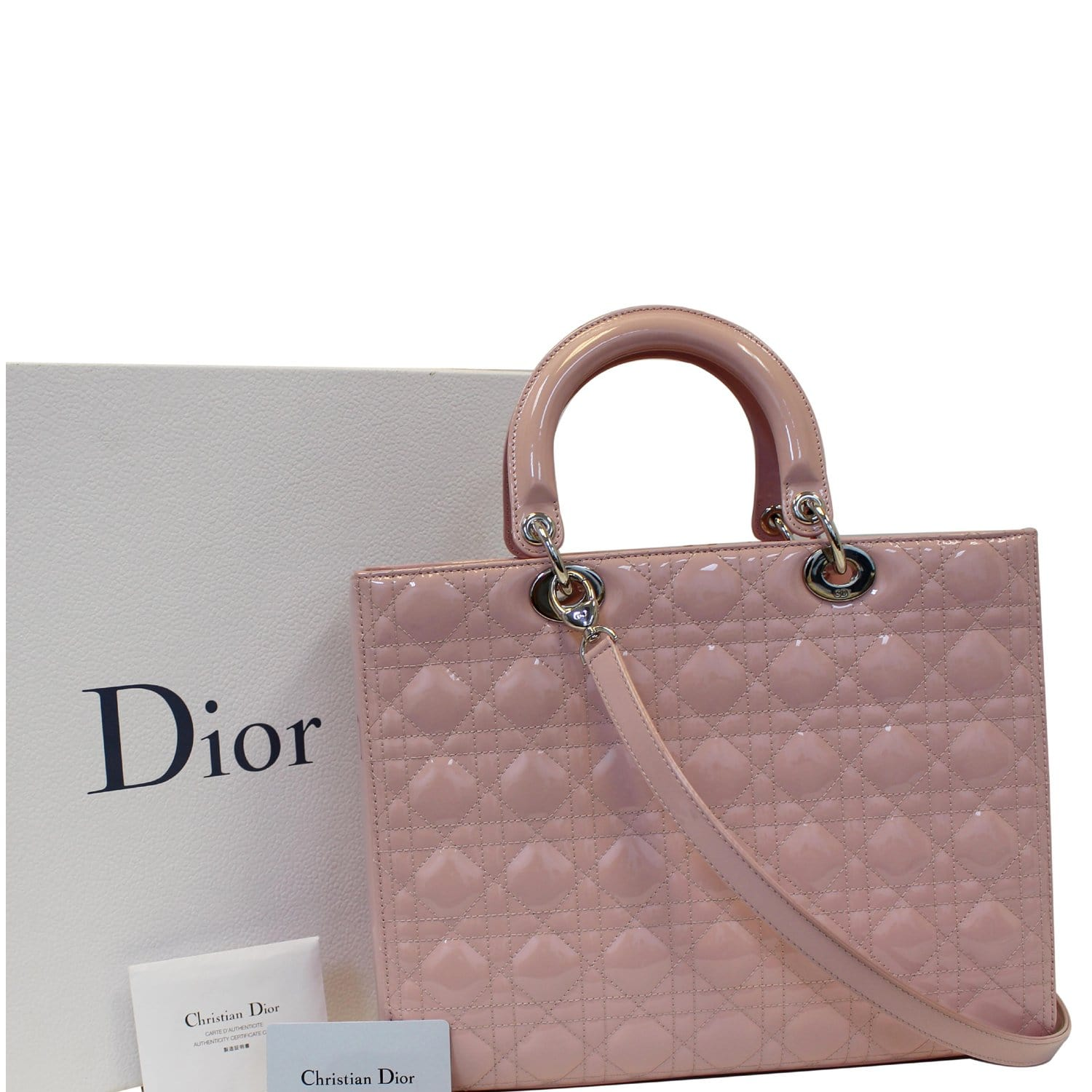 5f06d04fb1 CHRISTIAN DIOR Quilted Patent Leather Lady Dior Large Shoulder Bag-US