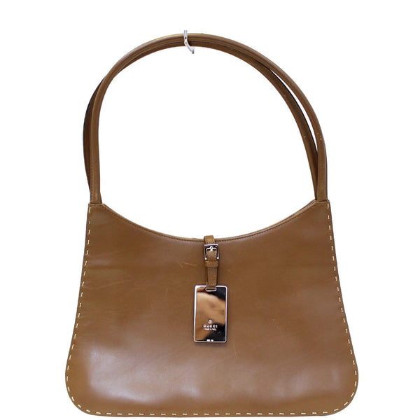GUCCI Brown Leather Topstitch Shoulder Bag-US