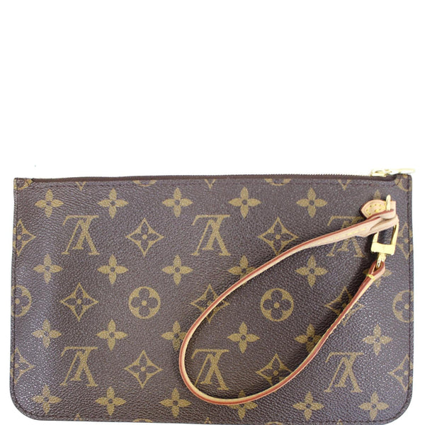 Louis Vuitton Pochette Wristlet Neverfull MM Pouch Brown