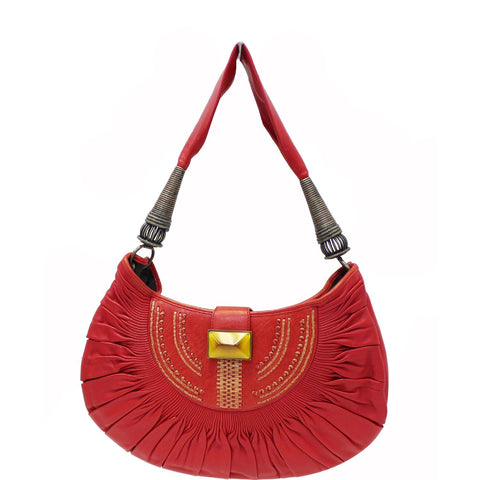 CHRISTIAN DIOR Plisse Pleated Leather Hobo Bag Red