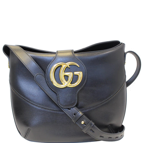 GUCCI Arli Medium Calfskin Leather Shoulder Bag 568857 Black