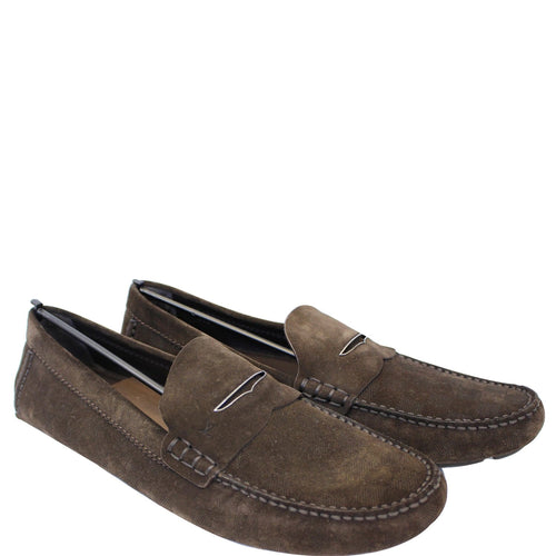 045b7def148 LOUIS VUITTON Embossed Suede Leather Moccasin Dark Brown Size 12