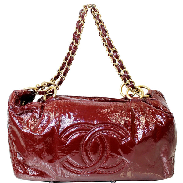 CHANEL Rock & Chain Patent Vinyl Bowler Shoulder Bag Red
