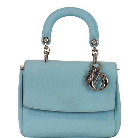 CHRISTIAN DIOR Be Dior Small Leather Flap Shoulder Bag Light Blue
