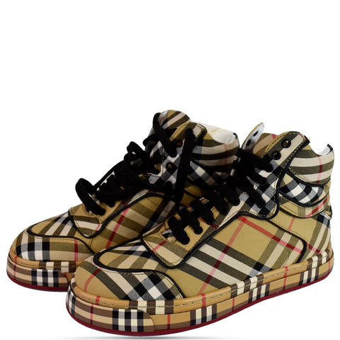 BURBERRY Vintage Check Cotton High-Top Sneakers US 7.5
