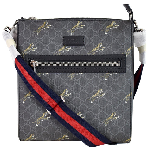 GUCCI Bestiary Tigers GG Supreme Square Messenger Bag Black 474137