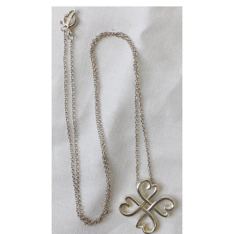 TIFFANY & CO Loving Four Heart Clover Pendant Silver