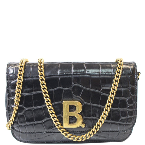 BALENCIAGA B Embossed Leather Chain Crossbody bag Black