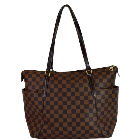 LOUIS VUITTON Totally MM Damier Ebene Shoulder Bag Brown