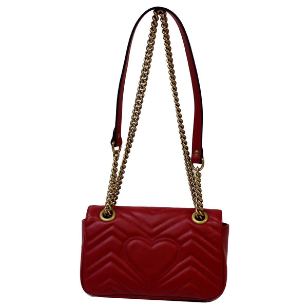 GUCCI GG Marmont Mini Leather Shoulder Crossbody Bag Red 446744
