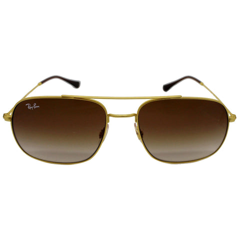 Ray-Ban RB 3595 9013/13 Gold Rubber Sunglasses Dark Brown Gradient Lens