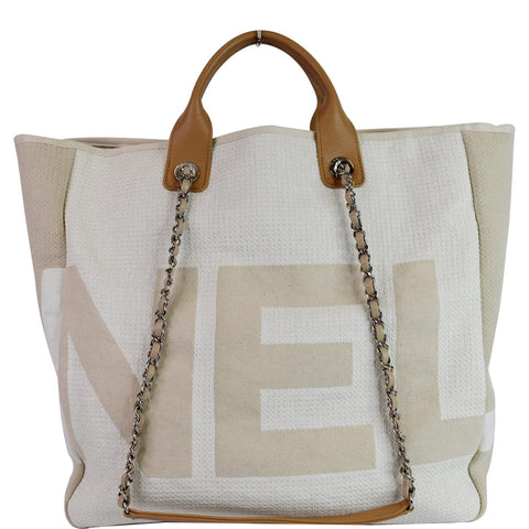 CHANEL 18P Deauville 2Way Logo Chain Shopping Tote Bag Beige