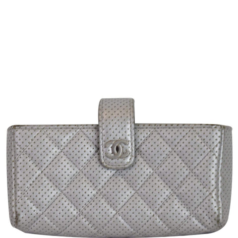 CHANEL Perforated Lambskin Quilted Mini Phone Holder Clutch Silver