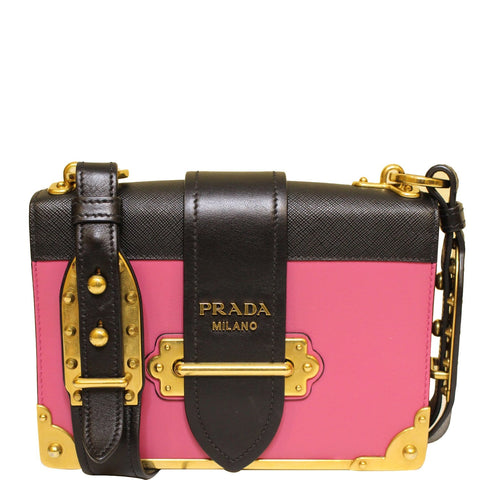 PRADA Cahier City Calf Saffiano Leather Shoulder Bag Black