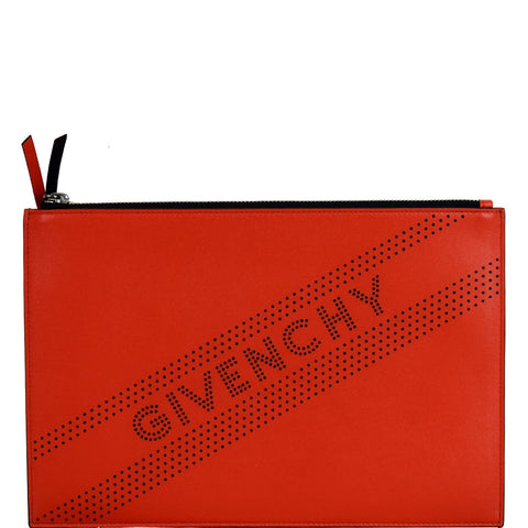 GIVENCHY Emblem Perforated Leather Pouch Bag Red