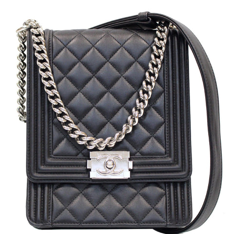 CHANEL North South Boy Lambskin Leather Crossbody Bag Black