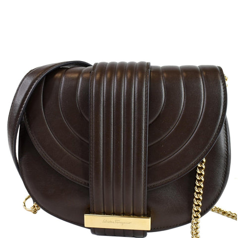 SALVATORE FERRAGAMO Rosette Leather Chain Crossbody Bag Chocolate Brown