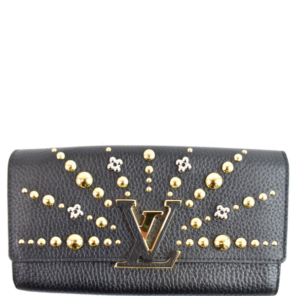 Louis Vuitton Capucines Studded Leather Wallet Black
