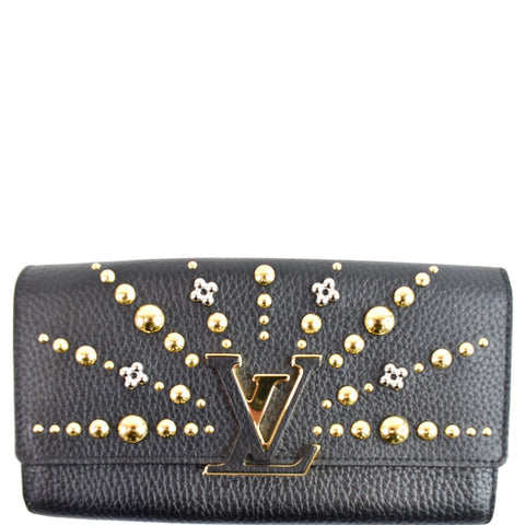 LOUIS VUITTON Capucines Studded Taurillon Leather Wallet Black