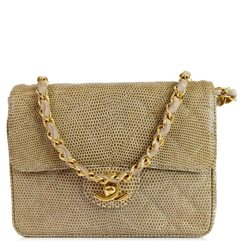 CHANEL Vintage Mini Square Flap Lizard Shoulder Bag Beige/Gold