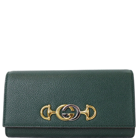 GUCCI Zumi Grainy Leather Continental Wallet Dark Green 573612 - Daily Deal