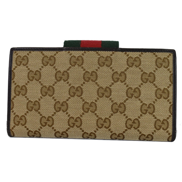 Gucci Monogram Ladies Web GG Canvas Continental Wallet - backside view