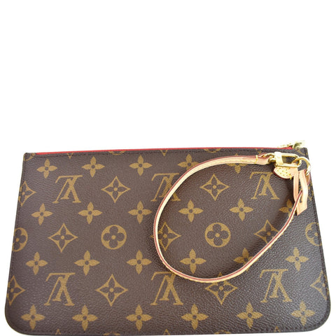 LOUIS VUITTON Pochette Wristlet Monogram Canvas Neverfull MM Brown