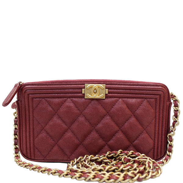 CHANEL Small Boy Caviar Quilted Clutch With Chain Shoulder Bag Red