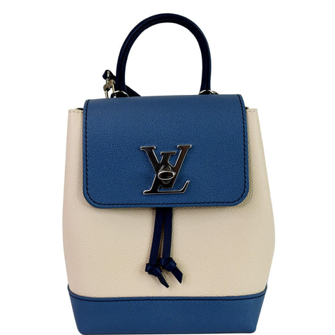 LOUIS VUITTON Lockme Calfskin Leather Backpack Blue/Beige
