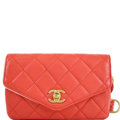 CHANEL Quilted Flap Calfskin Leather Chain Belt Waist Bag Red
