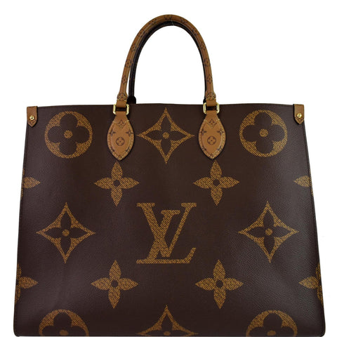 LOUIS VUITTON Onthego GM Reverse Monogram Giant Canvas Tote Shoulder Bag Brown