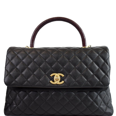 CHANEL Large Coco Quilted Caviar Lizard Handle Shoulder Bag Black