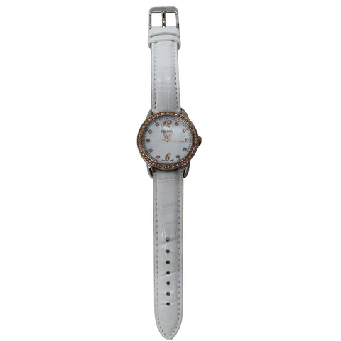 PULSAR Women's Crystal Accents Leather Strap Watch White Dial 32MM