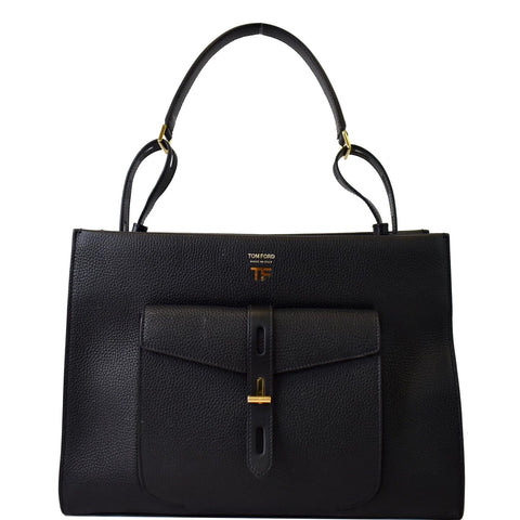 TOM FORD T Twist Small Leather Top Handle Bag Black