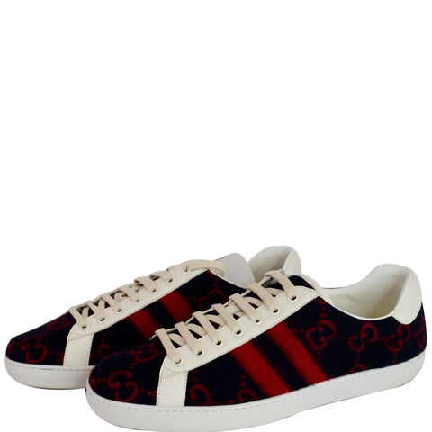 GUCCI Ace Low-Top Wool GG Monogram Sneaker Blue/Red 548695 US 9.5