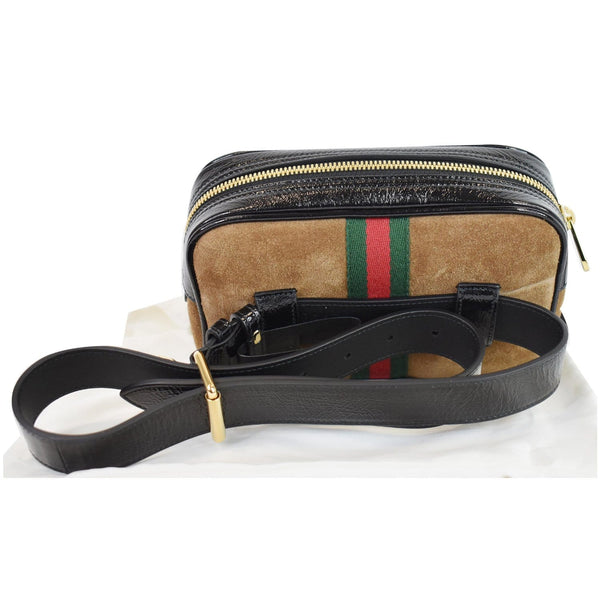 Gucci Ophidia Small Suede Web Belt Waist Bag Brown - leather belt