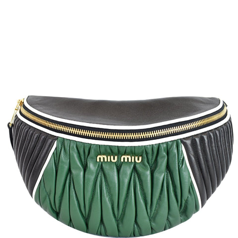 MIU MIU Two-Tone Matelasse Leather Belt Bum Bag Black/Green