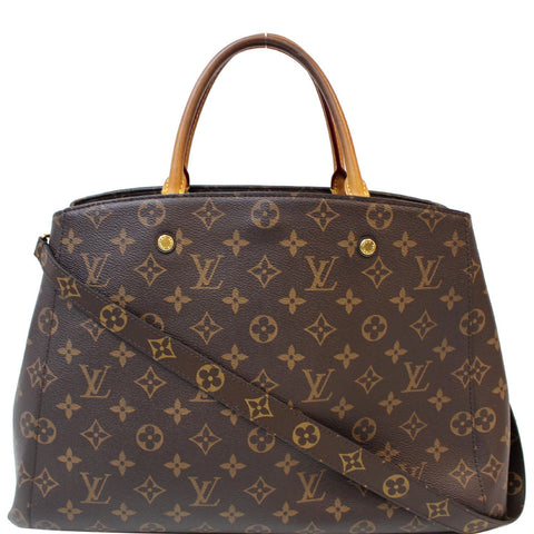 LOUIS VUITTON Montaigne GM Monogram Canvas Shoulder Bag Brown